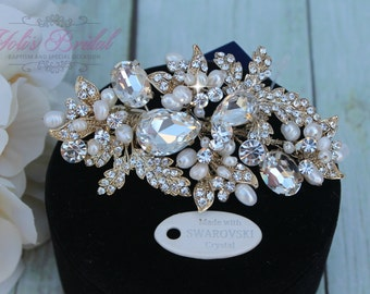 NEW!!!! SIlver or Gold!! Swarovski Hair Comb, Pearl  Hair comb, Crystal Bridal Hair comb, Swarovski Wedding Hair Comb