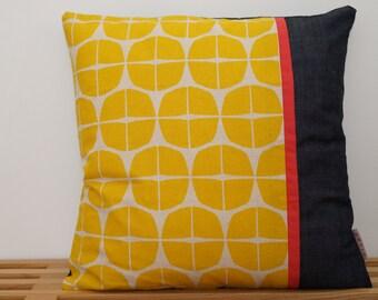 Housse de coussin, citron jaune  /  Pillow, cushion cover, yellow lemon
