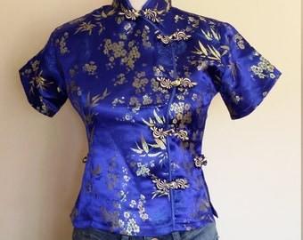 Cheongsam top, XS, S, royal blue top, silk top, Chinese top, Asian top, blue top, blue silk blouse