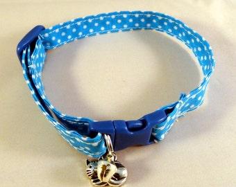 Cat Collar optional bow // Blue polka dots