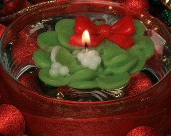 Mistletoe Holiday Floating candles, Box of 4
