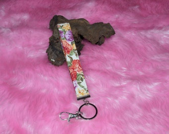 Floral Key Chain, Wristlet key chain,Floral cotton with woven fusible interfacing key chain, Lanyards