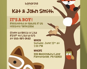Woodland Baby Shower Invitation, Lambs and Ivy Echo, Fox Baby Shower, Raccoon Baby Shower