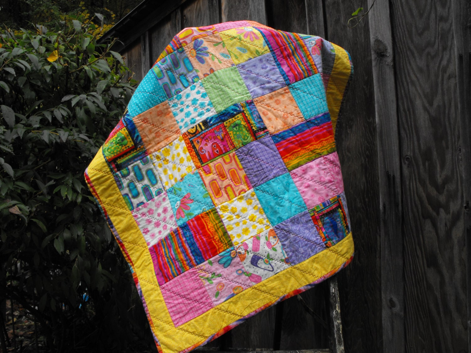 Baby Gift Quilt : Patchwork quilt baby gift crib wall