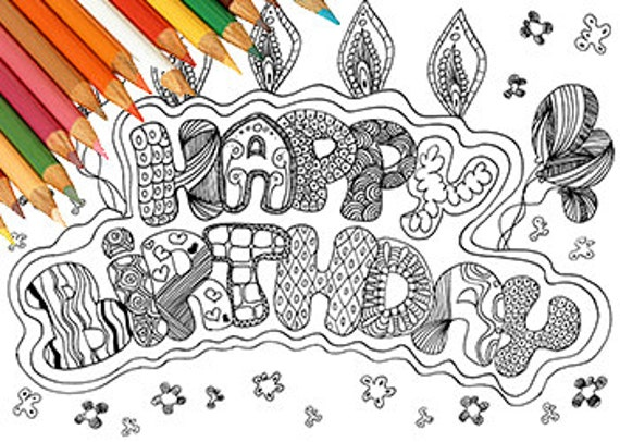 happy birthday coloring coloring page coloring word card to print coloring card zentangle draw adults birthday kids craft party card - Feliz Cumpleanos Coloring Pages