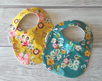 Modern Floral Baby Bibs / Baby Girl Bibs / Drool Bibs / Organic Cotton Fleece / Teal and Mustard