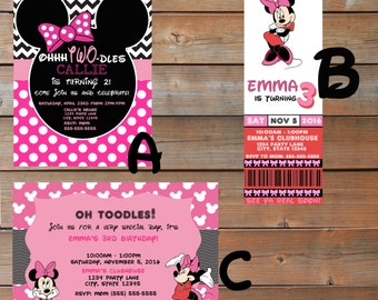 Minnie Mouse Themed Birthday Invitations - Personalized and Printable