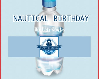 Nautical Themed Waterbottle Label Blue - DIGITAL