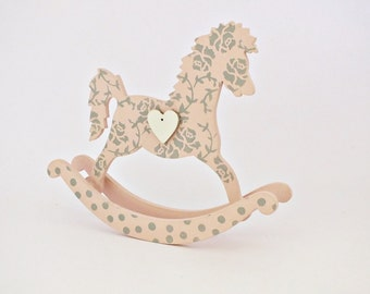Wood rocking horse toy Wooden toys Rocking horse art Baby girl nursery Baby girl gift Handcrafted horse Girl nursery decor Baby shower gift