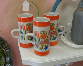 "Set of 3 Groovy, Psychedelic Royal Crown ""Smug Mugs""!"