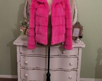 Zandra Rhodes Pink Fur Jacket, Designer Coat, French Rex Fur, M/ML, Genuine Fur Jacket, Luxury Fur Coat, Couture Jacket, Princess Di Dsngr!