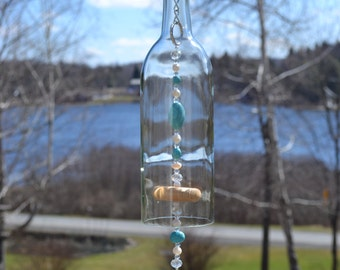 Wine Bottle Wind Chime, Turquoise Cross Wind Chime, Recycled Wine Bottle Chime