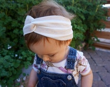 Baby Turban Headwrap in OATMEAL Stripes