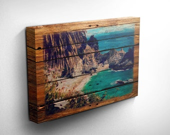 Beach Canvas Wood Effect, Gift Idea, Inspirational Art, Beach and Ocean Print, Birthday Gifts