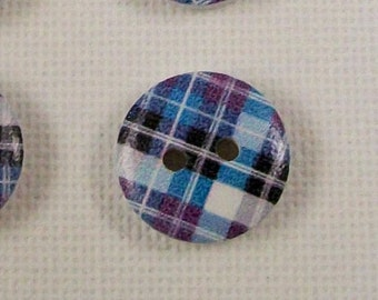 6 Plaid Wood Buttons, Tartan Wooden Buttons, 15mm Button, Sewing & Knitting Buttons, Scrapbooking Supply, Sewing Notions, Blue Plaid Button