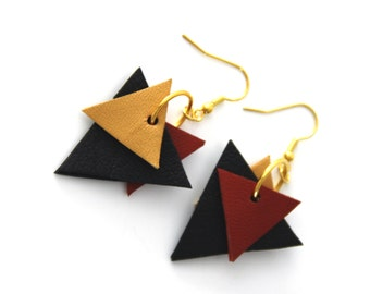 Earrings contemporary, leather, jewel Creator made hand, black, mustard, rust