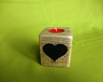 Heart tealight holder made from recycled wood