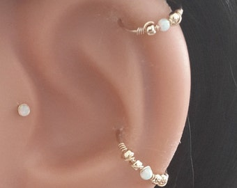 White Opal 2mm Helix Earring- Gold Beaded Cartilage Hoop - Silver Helix Piercing - October's Birthstone- 20-24 Gauge - 6-12mm Inner Diameter