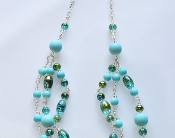 Green and Teal Glass Bead Necklace