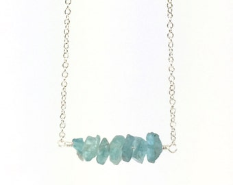 Raw Apatite Necklace, Raw Stone Necklace, Natural Crystal, Blue Gemstone, Rough, Nugget, Healing, Minimalist, Edgy, Bar Necklace