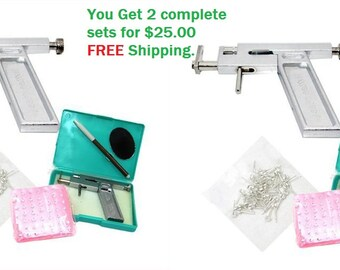 Lot of 2 Professional Ear Nose Navel Body PIERCING GUN Tool Kits set jewelry 72X Studs