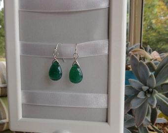 Green Agate Teardrop Earrings
