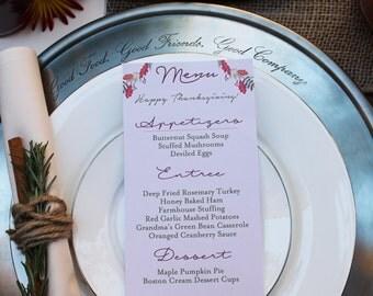 Custom Printable Thanksgiving Menu Cards