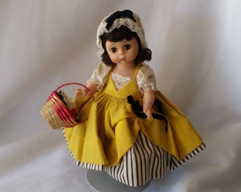 """Vintage """"Alexander-kins"""" Madame Alexander Bent Knee French 8 inch Doll in Tagged Outfit with Flower Basket ~ Great Condition"""