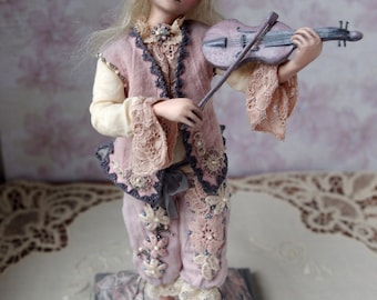 OOAK Art doll, handmade violinist doll, musician, shabby chic decor, decorative posable doll, sculpture, violin, lacy, tracery - 9 inch