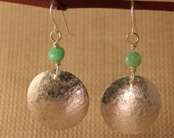 sterling silver disk, textured, chrysoprase bead,dangle, 1 1/2 inches long earrings