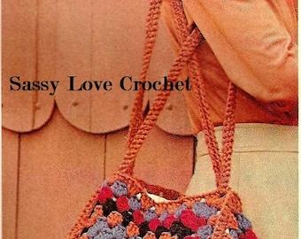 Crochet Granny Squares Handbag Pattern-Shopping Bag - Tote Bag - Carry All - Retro Purse Pattern- Shoulder Bag-PDF Download