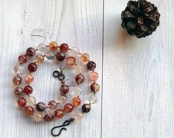 Classic red rutilated quartz necklace. Classic necklace with silk cord and Red Quartz. Necklace with silk and  quartz. Everyday necklace