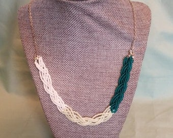Thin Braided Bead Ombre Necklace