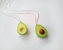 BFF Avocado Necklace, vegan jewelry, avocado jewelry, miniature food jewelry, best friend, kawaii charms, BFF necklace