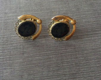Vintage Black Onyx Gold Filled Screw Back Earrings