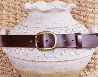 "1.5"" Full Grain Dark Brown Leather Belt-Mens Belt Womens Belt Strap 1-1/2""-Belt Sizes 30 32 34 36 38 40 42 Snap Antique Brass Buckle"
