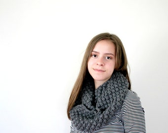 Hand Knit Women's Fall Cowl // Infinity Scarf { gray }