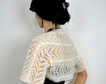 Knitted shrug / Super kid mohair and silk/  Shoulder Wrap / Bolero   / knitted  / women's knitwear / loose weave /  Free shipping.