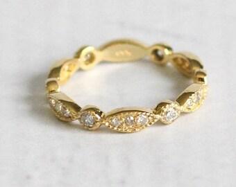 Petite Bead & Eye Leaf Rose Gold Diamond Vintage Style Full Eternity Band