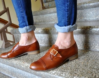Duke - Womens Oxfords, Monk Straps, leather shoes, Womens monk shoes, Oxfords for women, Vintage Shoes, Custom Shoes,  FREE customization!!!