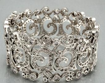 Vintage Bracelet, Vintage Cuff, Bridal Jewelry, Wedding Jewelry, Bracelet, Cuff Bangle, Patala Vintage Inspired Wedding Cuff Bracelet