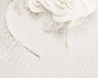 Veil Headband, Bridal Headband, Birdcage Veil, Tulle veil, Beaded veil, Blusher veil, Headpiece, Bridal veil, Wedding Headband, Flower Veil