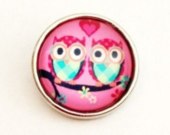 Snap Charm with 2 Owls fits Noosa, Ginger snaps jewelry and ohter interchangeable jewelry regular size 18 mm, Christmas gifts, Gift for her