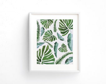 Banana Leaf Print, Digital Print, Banana Leaf Art, Watercolor Banana Leaf Print, Digital Download, Banana Leaf Wall Art, Wall Prints, Most P