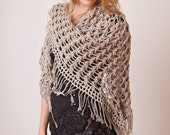 Crochet boho wrap, beige shawl, fringed summer top clothing, hippie style knitwear, womens beach cover up, cotton long vest, versatile knits