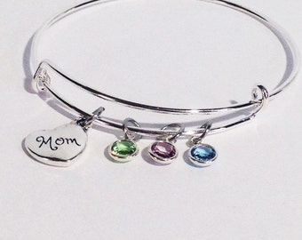 Mothers Day Birthstone Bracelet, Mothers Day Gift, Gifts for Mom, Mom Jewelry, Mom Gift, Family Bracelet, Birthstone Bangle, Gift for Mom