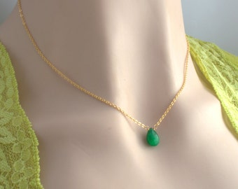 Genuine Natural Emerald Necklace, 14K Yellow or Rose Gold Filled, Sterling Silver, Dainty Green Drop Gemstone Pendant, May Birthstone