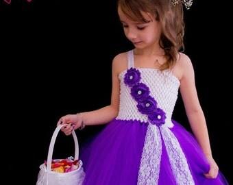 Purple and White Girls Dress, Flower Girl Dress, Flower Girl Tutu, Flower Girl, Birthday, Birthday Dress, Dress, Tutu, Purple Dress