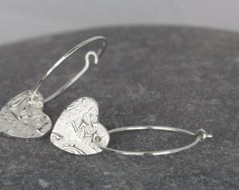 Sterling silver hoop earrings ~ fine silver heart charm on small hoop earrings ~Heart earrings hoops ~delicate silver hoops ~ sister present