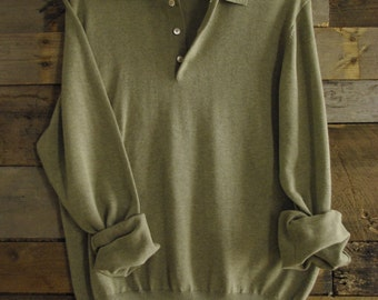 Vintage Polo-Style Sweater By Brooks Brothers Men's S 100% Cotton Made in Hong Kong Free US Standard Shipping